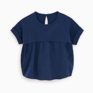 Zara || Embroidered Navy T-Shirt